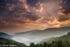 Sunrise over Dry Fork River Valley WV - Kent Mason